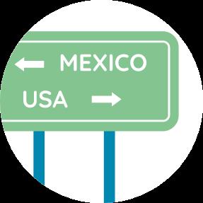 USA Mexico border graphic icon